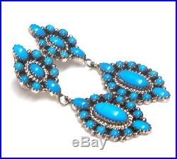 Navajo Handmade Sterling Silver Sleeping Beauty Turquoise Post Earrings -N. C