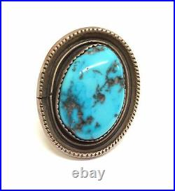 Navajo Handmade Sterling Silver Sleeping Beauty Turquoise Ring Size 8
