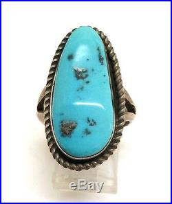 Navajo Handmade Sterling Silver Sleeping Beauty Turquoise Ring Size 8.75 LL