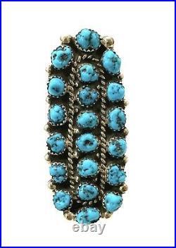 Navajo Handmade Sterling Silver Sleeping Beauty Turquoise Ring Sz 8- Aaron Davis