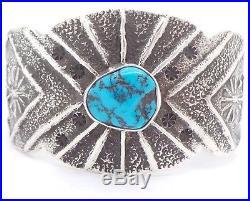Navajo Handmade Sterling Silver Sleeping Beauty Turquoise Tufa Cast Bracelet