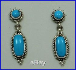 Navajo Indian Earrings Sleeping Beauty Turquoise Sterling Silver Post Renell Per