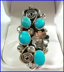 Navajo Kenneth Jones 925 Elongated Scroll Sleeping Beauty Turquoise Size 8 Ring