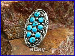 Navajo Large Sterling & Sleeping Beauty Cluster Turquoise Ring Size 9.5 Signed