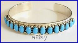 Navajo Lj Lester Jackson 925 Sterling Silver Sleeping Beauty Turquoise Bracelet