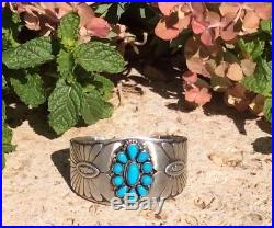 Navajo Mark Yazzie Sterling And Sleeping Beauty Turquoise Cuff