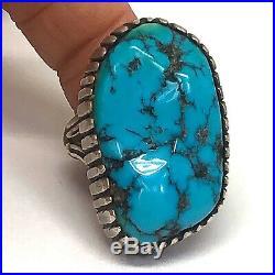 Navajo Mens Turquoise Ring Sz 9 Vtg Big Sterling Silver 21g Sleeping Beauty