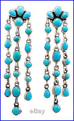 Navajo Native American Sleeping Beauty Turquoise Earrings by Lincoln SKU#232225