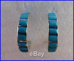 Navajo Native American Sleeping Beauty Turquoise Hoop Earrings
