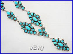 Navajo Natural Sleeping Beauty Turquoise Segmented Drop Necklace by D. Ashley