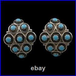 Navajo Old Pawn Handmade Sleeping Beauty Turquoise Sterling Silver Post Earrings