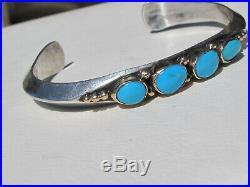 Navajo PAUL LIVINGSTON Sterling 14K & Sleeping Beauty Turquoise Cuff Bracelet