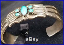 Navajo Rick Martinez Sterling Silver Sleeping Beauty Turquoise Cuff Bracelet