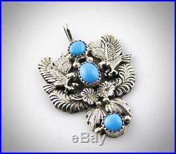 Navajo Robert Becenti Sleeping Beauty Turquoise Double Eagle Pendant Signed