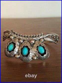Navajo Shadow Box Sweater Cuff Sleeping Beauty Turquoise- Sterling Bracelet