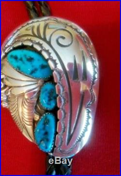 Navajo Shadowbox 3 Sleeping Beauty Turquoise & Silver Bolo Collectible Signed