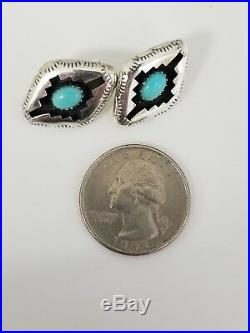 Navajo Signed P Sleeping Beauty Turquoise Silver Shadowbox Necklace Earring Set