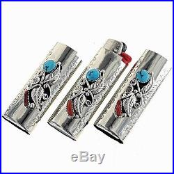 Navajo Sleeping Beauty Turquoise Coral Silver Lighter Case