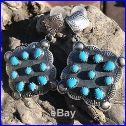 Navajo Sleeping Beauty Turquoise Dangle Earrings Signed