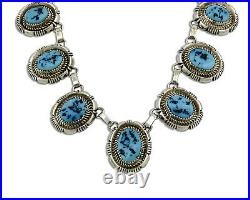 Navajo Sleeping Beauty Turquoise Necklace. 925 Silver Signed L. Etsitty C. 80's