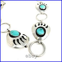 Navajo Sleeping Beauty Turquoise Shadowbox Bear Paw Sterling Silver Concho Belt