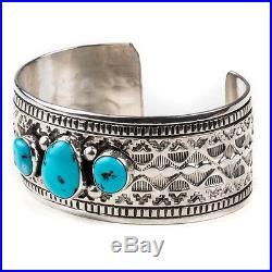Navajo Sleeping Beauty Turquoise Stampwork Sterling Silver. 925 cuff bracelet