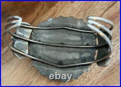 Navajo Sleeping Beauty Turquoise Sterling 925 Silver Cluster Cuff Bracelet