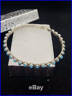 Navajo Sleeping Beauty Turquoise Sterling Silver Bangle Bracelet MCA
