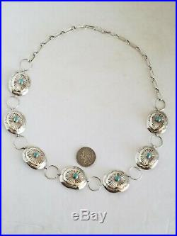 Navajo Sleeping Beauty Turquoise Sterling Silver Concho Hat Band Size To 24-1/2