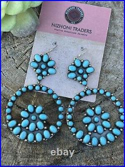 Navajo Sleeping Beauty Turquoise Sterling Silver Dangle Earrings artist Spencer