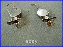 Navajo Sleeping Beauty Turquoise Sterling Silver Squash Blossom Hook Earrings