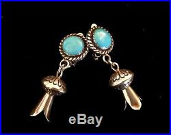 Navajo Sleeping Beauty Turquoise Sterling Squash Blossom Drop Clip Earrings