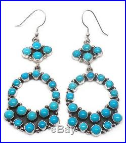 Navajo St Silver Sleeping Beauty Turquoise French Hook Earrings -Emma Lincoln