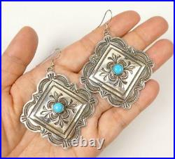 Navajo Stamped Sterling Silver Sleeping Beauty Turquoise Large Square Earrings
