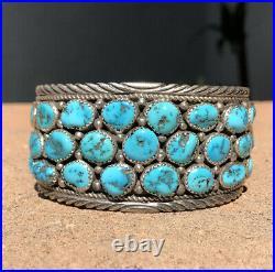 Navajo Sterling Jackie Singer Sleeping Beauty Turquoise Cluster Cuff Bracelet