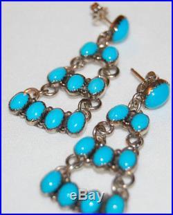 Navajo Sterling Natural Sleeping Beauty Blue Turquoise Cluster Earrings