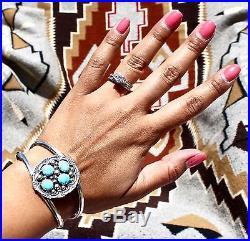 Navajo Sterling Silver 4 Stone Sleeping Beauty Turquoise Cuff Bracelet H Long