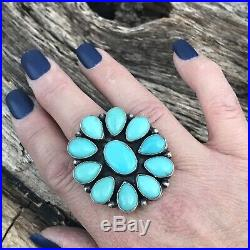 Navajo Sterling Silver & Sleeping Beauty Turquoise Cluster Ring Sz 8