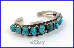 Navajo Sterling Silver Sleeping Beauty Turquoise Cuff Bracelet. 11 Stones