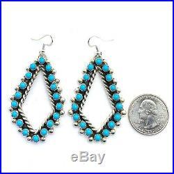 Navajo Sterling Silver Sleeping Beauty Turquoise Earrings Kristina Francisco