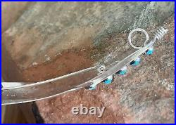 Navajo Sterling Silver Sleeping Beauty Turquoise Large Feather Pendant Pin