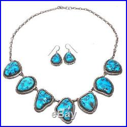 navajo sterling silver sleeping beauty turquoise necklace