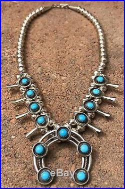 Navajo Sterling Silver Sleeping Beauty Turquoise Squash Blossom Necklace 17.5