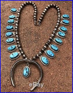 Navajo Sterling Silver Sleeping Beauty Turquoise Squash Blossom Necklace 20.5
