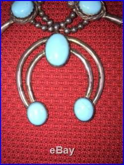 Navajo Sterling Silver Sleeping Beauty Turquoise Squash Blossom Necklace OLD