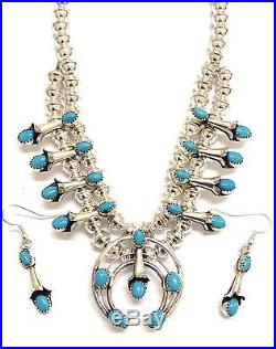 Navajo Sterling Silver Sleeping Beauty Turquoise Squash Blossom Necklace Set