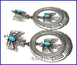 Navajo Sterling Silver Sleeping Beauty Turquoise Thunderbird Post Earrings-L. J