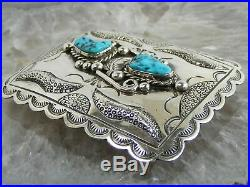 Navajo Sterling Silver Sleeping Beauty Turquoise Tooled BELT BUCKLE FLOYD ARVISO