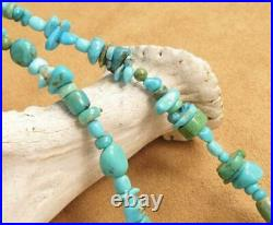 Navajo Sterling Silver Squash Blossom Sleeping Beauty Turquoise Strand Necklace