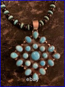 Navajo Sterling Sleeping Beauty Turquoise Diamond Cluster Pendant Bead Necklace